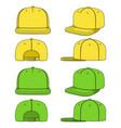 set a rapper cap with a flat visor snapback vector image
