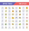 set flat line icons office tools vector image