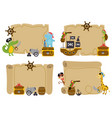 set isolated treasure maps with animal pirates vector image vector image