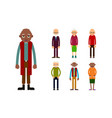 set of diverse elderly people isolated on white vector image vector image