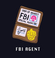 special fbi agent id on black vector image