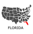 state of florida on map of usa vector image vector image