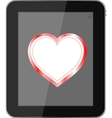 tablet pc on white background love valentine heart vector image vector image