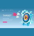 target gear landing page banner business 3d icon vector image