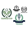 Tennis rackets and balls in sporting labels vector image vector image