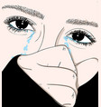 the girl crying sadly in love vector image vector image