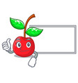 thumbs up with board cherry fruit in a mascot vector image vector image
