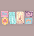 travel stickers with famous world attractions set vector image