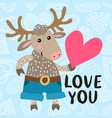 valentine s day greeting card with deer vector image