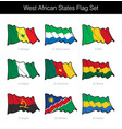 west african states waving flag set vector image vector image