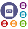 wine list icons set vector image vector image