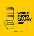 world photography day with camera outline art vector image vector image