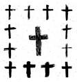 grunge hand drawn cross symbols set christian vector image