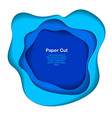 abstract blue paper cutout curvy shapes layered vector image