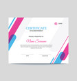 abstract pink purple and blue certificate design