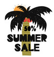 advert card with lettering 50 summer sale wit palm vector image