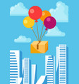 balloons with delivery box vector image