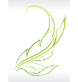 beautiful leaf abstract with outline vector image