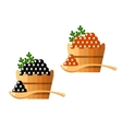 Black and red caviar in a wooden barrel isolated vector image vector image