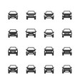 cars front view signs vehicle black silhouette vector image