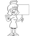 Cartoon nurse holding a sign vector image vector image