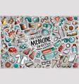 cartoon set medicine theme items objects vector image