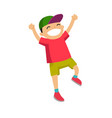 caucasian white boy jumping with raised hands up vector image