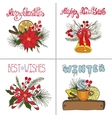 Christmas greeting cards setNew year doodles vector image