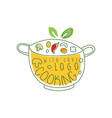 culinary logo design with pan fresh vegetables vector image vector image