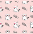 Cute hand drawn pattern background with cats and