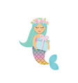 cute mermaid with birthday present box vector image vector image