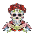 Day of the Dead Skull with Roses and Label vector image vector image