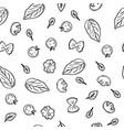 hand drawing pattern herbs garlic champignons vector image