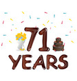 happy birthday seventy one 71 year vector image vector image