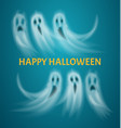 happy halloween poster with text ghosts vector image
