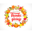 happy thanksgiving calligraphy with wreath pumpkin vector image