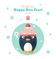 Holiday card with penguin in flat vector image