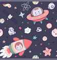 japanese kawaii cat travels in space seamless vector image vector image