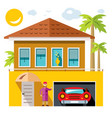 luxury house flat style colorful cartoon vector image vector image