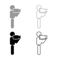 man with video camera stick icon set grey black vector image vector image