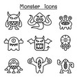 monster icon set in thin line style vector image vector image