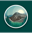 mountain peaks sun and green forest vector image vector image