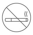 no smoking thin line icon forbidden and vector image vector image