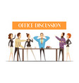 office discussion cartoon style vector image vector image