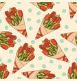 pattern with a bouquet of tulips vector image