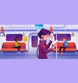 people in subway train car underground commuter vector image vector image