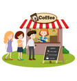 people waitin in line at the coffe stand vector image vector image