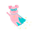 pig superhero flies in mask and cape piggy vector image vector image