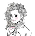 portrait of beaitiful young woman with coffee cup vector image