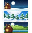 set of house in nature landscape vector image vector image